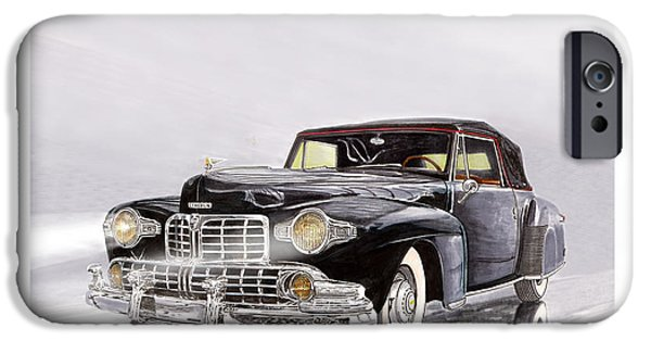 Classic Car Paintings iPhone Cases - 1946 Lincoln Continental Convertible foggy reflection iPhone Case by Jack Pumphrey