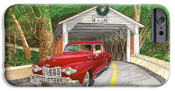 Wreath Paintings iPhone Cases - 1946 Lincoln Continental iPhone Case by Jack Pumphrey