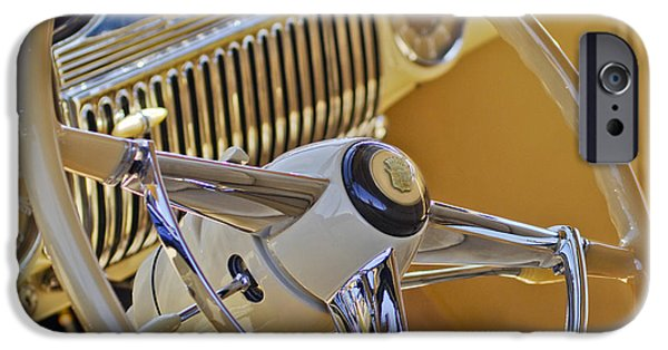 Steering iPhone Cases - 1947 Cadillac 62 Steering Wheel iPhone Case by Jill Reger