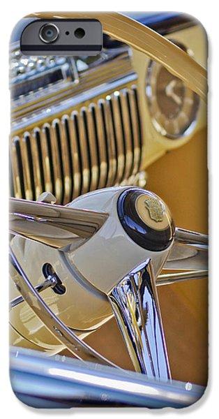 1947 Cadillac 62 Steering Wheel iPhone Case by Jill Reger