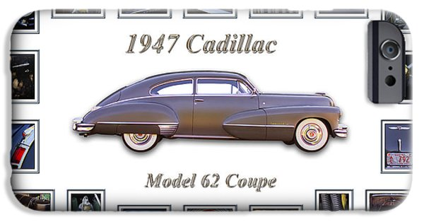 Montage iPhone Cases - 1947 Cadillac Model 62 Coupe Art iPhone Case by Jill Reger