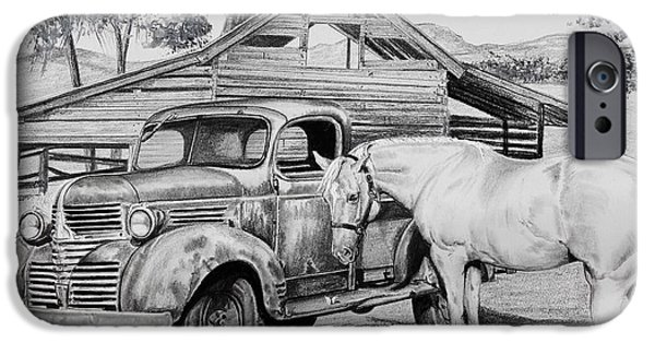 Old Barn Drawing iPhone Cases - 1947 Dodge Pick Up and Codi iPhone Case by Carolyn Valcourt