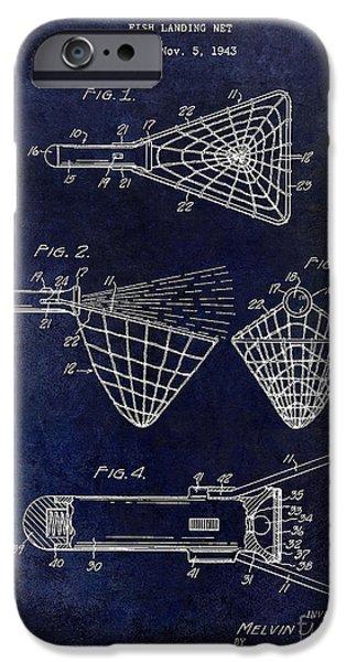Shark iPhone Cases - 1947 fishing Net Patent Drawing Blue iPhone Case by Jon Neidert