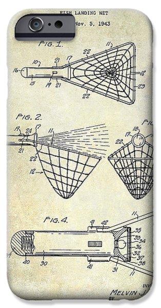 Shark iPhone Cases - 1947 Fishing Net Patent Drawing iPhone Case by Jon Neidert