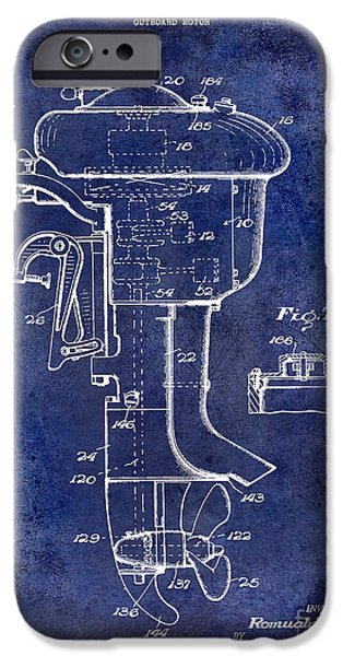 Cape Cod iPhone Cases - 1947 Outboard Motor Patent Drawing Blue iPhone Case by Jon Neidert