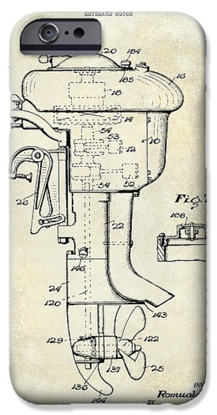 Cape Cod iPhone Cases - 1947 Outboard Motor Patent Drawing iPhone Case by Jon Neidert