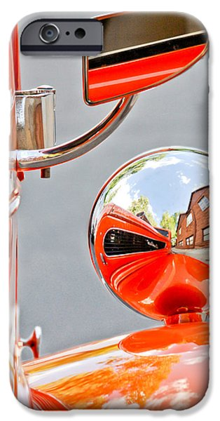 Rear View iPhone Cases - 1948 Anglia Rear View Mirror -451c iPhone Case by Jill Reger