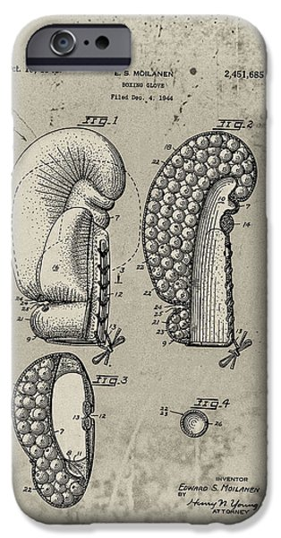 1948 Boxing Glove Patent iPhone Case by Digital Reproductions