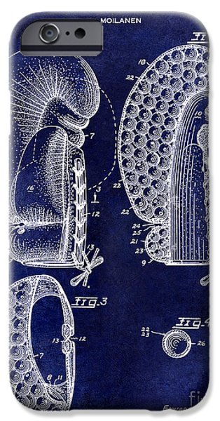 Boxer Photographs iPhone Cases - 1948 Boxing Glove Patent Drawing Blue iPhone Case by Jon Neidert