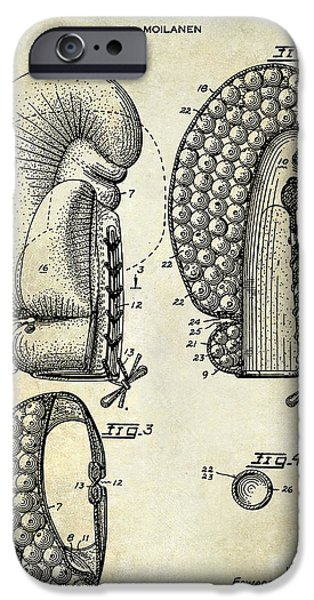 Boxer Photographs iPhone Cases - 1948 Boxing Glove Patent Drawing iPhone Case by Jon Neidert