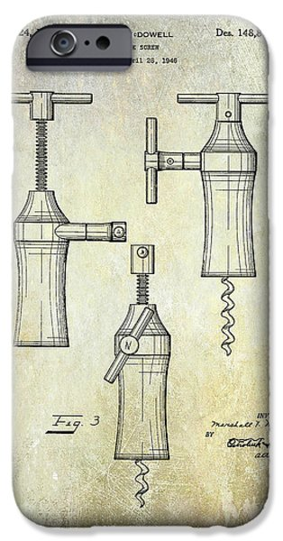 Red Wine iPhone Cases - 1948 Corkscrew Patent Drawing iPhone Case by Jon Neidert