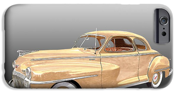 Business Drawings iPhone Cases - 1948 De Soto Club Coupe iPhone Case by Jack Pumphrey