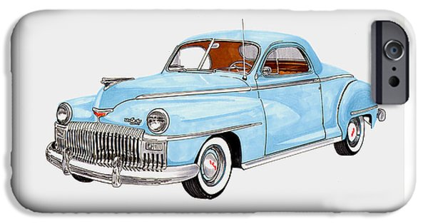 Business Drawings iPhone Cases - 1948 DeSoto Business Coupe iPhone Case by Jack Pumphrey