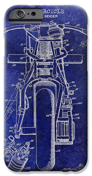 Victory iPhone Cases - 1948 Indian Motorcycle Patent Drawing Blue iPhone Case by Jon Neidert