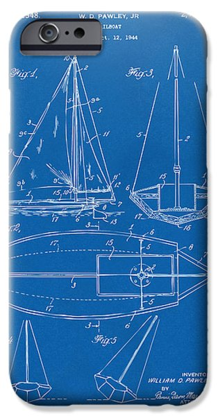 Blue Sailboats iPhone Cases - 1948 Sailboat Patent Artwork - Blueprint iPhone Case by Nikki Marie Smith