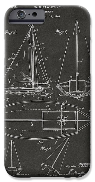 Row Boat Digital iPhone Cases - 1948 Sailboat Patent Artwork - Gray iPhone Case by Nikki Marie Smith