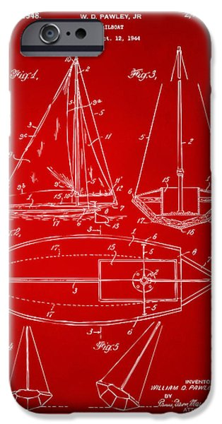 Row Boat Digital iPhone Cases - 1948 Sailboat Patent Artwork - Red iPhone Case by Nikki Marie Smith