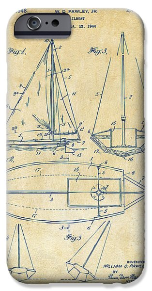 Row Boat Digital iPhone Cases - 1948 Sailboat Patent Artwork - Vintage iPhone Case by Nikki Marie Smith