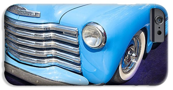 Old Fashioned iPhone Cases - 1949 Blue Chevrolet Truck iPhone Case by Susan Candelario