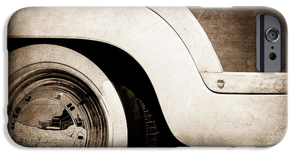 Wagon Wheels Photographs iPhone Cases - 1949 Mercury Station Woodie Wagon Wheel Emblem iPhone Case by Jill Reger