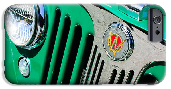 Station Wagon iPhone Cases - 1949 Willys Jeep Station Wagon Grille Emblem iPhone Case by Jill Reger