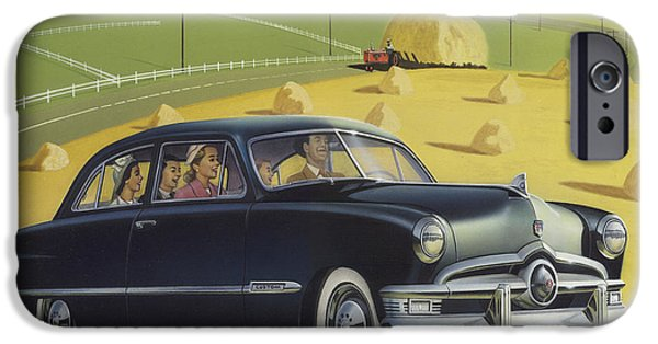 Airbrush iPhone Cases - 1950 Custom Ford Blank Greeting Card iPhone Case by Walt Curlee