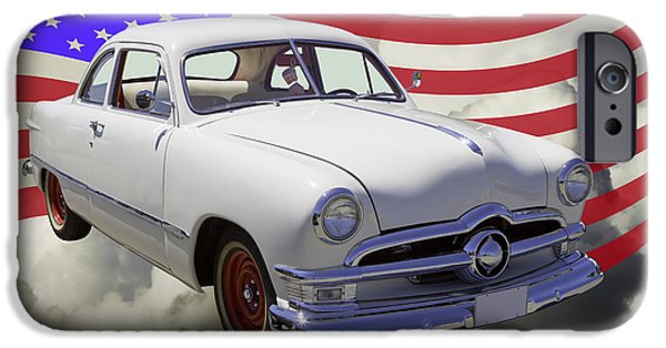 Red White And Blue iPhone Cases - 1950 Ford Custom Car With American Flag iPhone Case by Keith Webber Jr