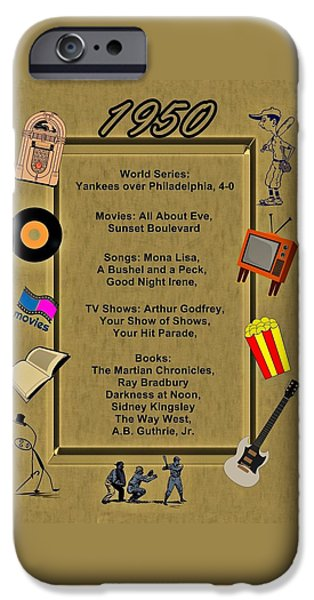 Phillie iPhone Cases - 1950 Great Events iPhone Case by Movie Poster Prints