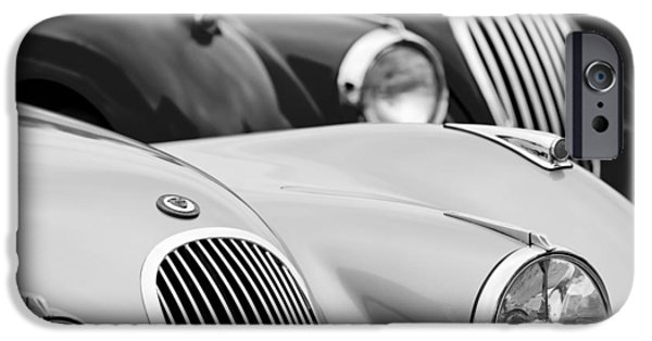 1950 iPhone Cases - 1950 Jaguar XK120 Roadster Grille 2 iPhone Case by Jill Reger