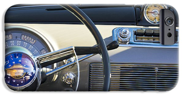 1950 iPhone Cases - 1950 Oldsmobile Rocket 88 Steering Wheel 3 iPhone Case by Jill Reger