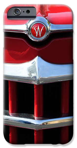 1950 iPhone Cases - 1950 Willys Overland Jeepster Hood Emblem iPhone Case by Jill Reger