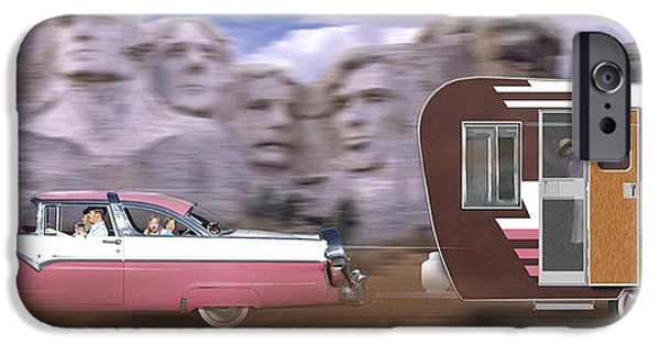 Trailers iPhone Cases - 1950s Family Vacation Panoramic iPhone Case by Mike McGlothlen