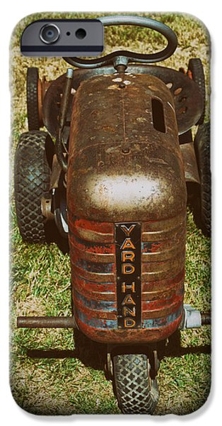 Mower iPhone Cases - 1950s Yard Hand Tractor iPhone Case by Mary Lee Dereske