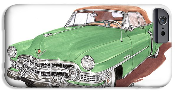 Classic Car Paintings iPhone Cases - 1951 Cadillac Series 62 Convertible iPhone Case by Jack Pumphrey