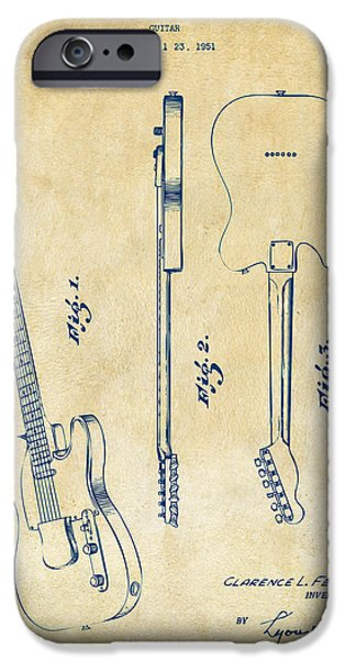 Fenders iPhone Cases - 1951 Fender Electric Guitar Patent Artwork - Vintage iPhone Case by Nikki Marie Smith