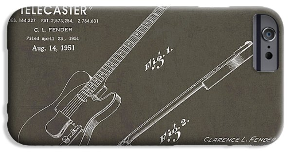 Electric Drawings iPhone Cases - 1951 Fender Telecaster Guitar Patent Art in White Chalk on Gray  iPhone Case by Nishanth Gopinathan