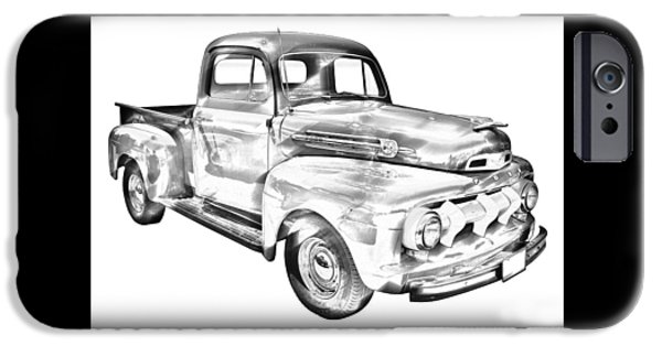 Classic F1 iPhone Cases - 1951 Ford F-1 Pickup Truck Illustration  iPhone Case by Keith Webber Jr