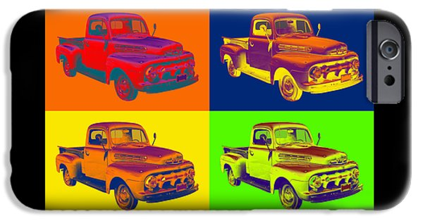 Ford Truck iPhone Cases - 1951 ford F-1 Pickup Truck Pop Art iPhone Case by Keith Webber Jr
