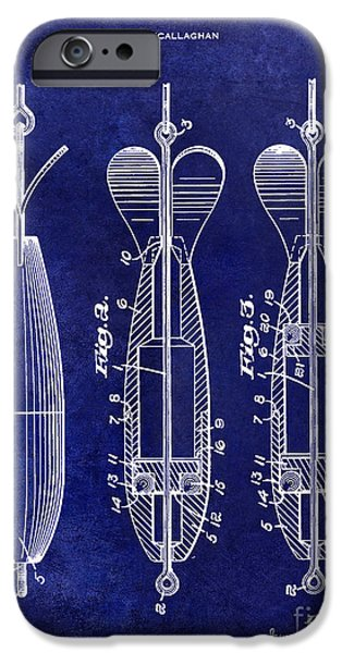 Lake House iPhone Cases - 1951 Spinning Bait Patent Drawing Blue iPhone Case by Jon Neidert