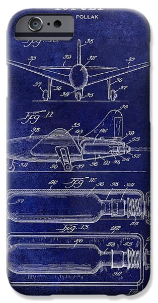 Vintage Plane iPhone Cases - 1951 Toy Jet Patent Drawing Blue iPhone Case by Jon Neidert