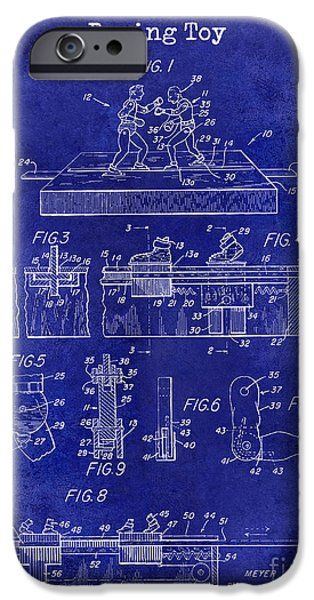 Boxer Photographs iPhone Cases - 1952 Boxing Toy Patent Drawing Blue iPhone Case by Jon Neidert