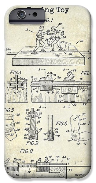 Boxer Photographs iPhone Cases - 1952 Boxing Toy Patent Drawing iPhone Case by Jon Neidert