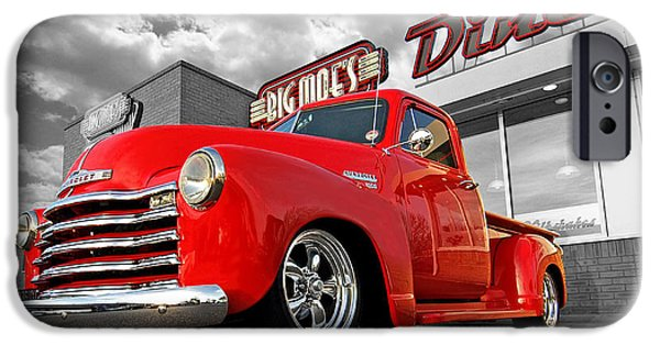 Automotive iPhone Cases - 1952 Chevrolet Truck at the Diner iPhone Case by Gill Billington
