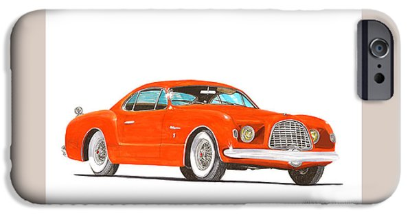 Classic Car Paintings iPhone Cases - 1952 Chrysler DElegance Concept iPhone Case by Jack Pumphrey
