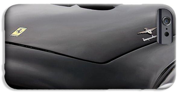 1952 iPhone Cases - 1952 Ferrari 212 225 Barchetta Hood Emblems iPhone Case by Jill Reger