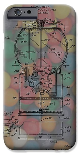 Toy Store Mixed Media iPhone Cases - 1952 Gumball Machine Patent Poster iPhone Case by Dan Sproul