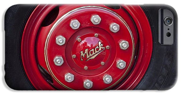Truck iPhone Cases - 1952 L Model Mack Pumper Fire Truck Wheel iPhone Case by Jill Reger