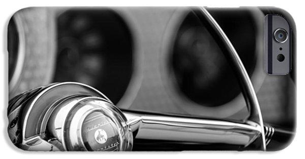 Sterling iPhone Cases - 1952 Sterling Gladwin Maverick Sportster Steering Wheel Emblem -1848bw iPhone Case by Jill Reger