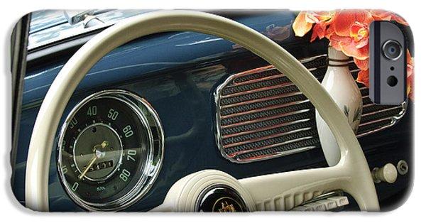 1952 iPhone Cases - 1952 Volkswagen VW Bug Steering Wheel iPhone Case by Jill Reger