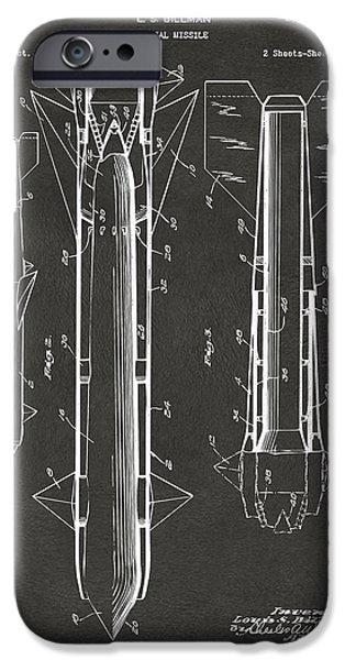 1953 Aerial Missile Patent Gray iPhone Case by Nikki Marie Smith
